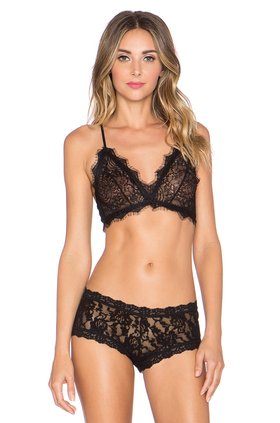 4de339a80e2 ANINE BING Lace Bra With Trim in Black