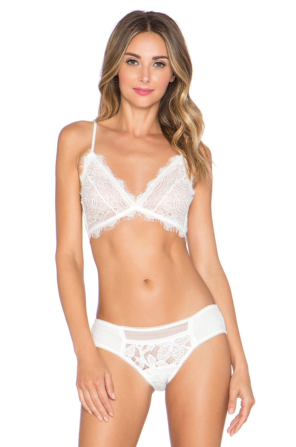 ANINE BING Lace Bra With Trim in Ivory