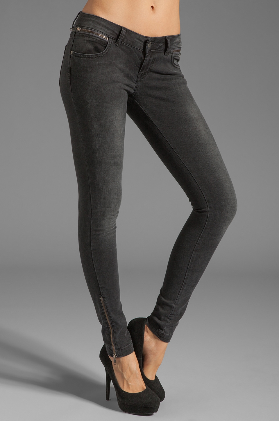 ANINE BING Skinny Double Zipper Skinny in Charcoal