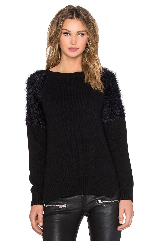 ANINE BING Fluffy Shoulder Sweater in Black