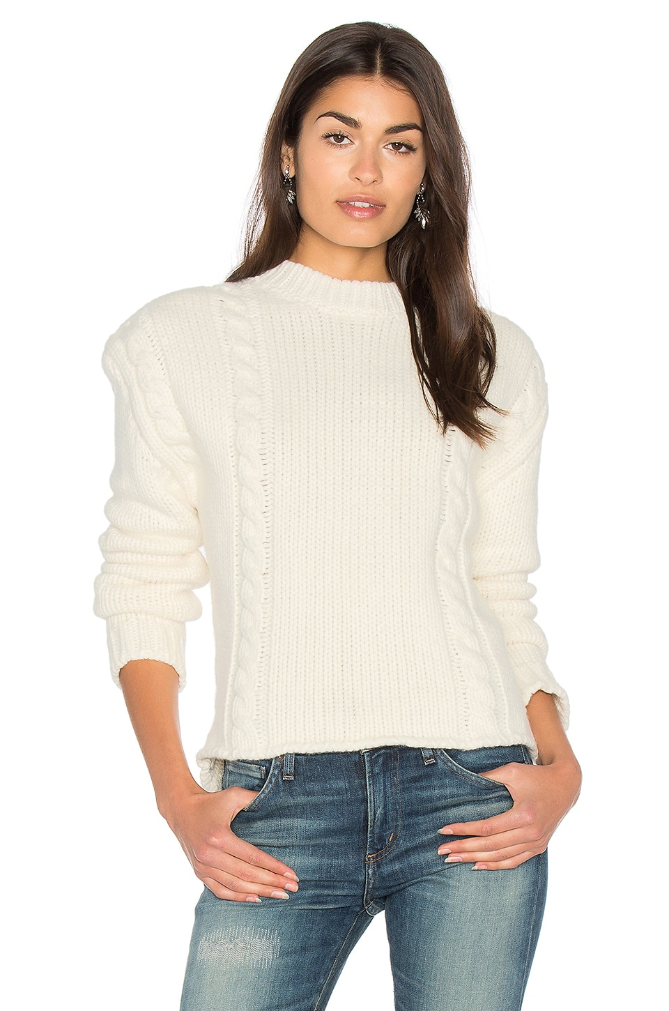 ANINE BING Chunky Knit Sweater in Cream | REVOLVE