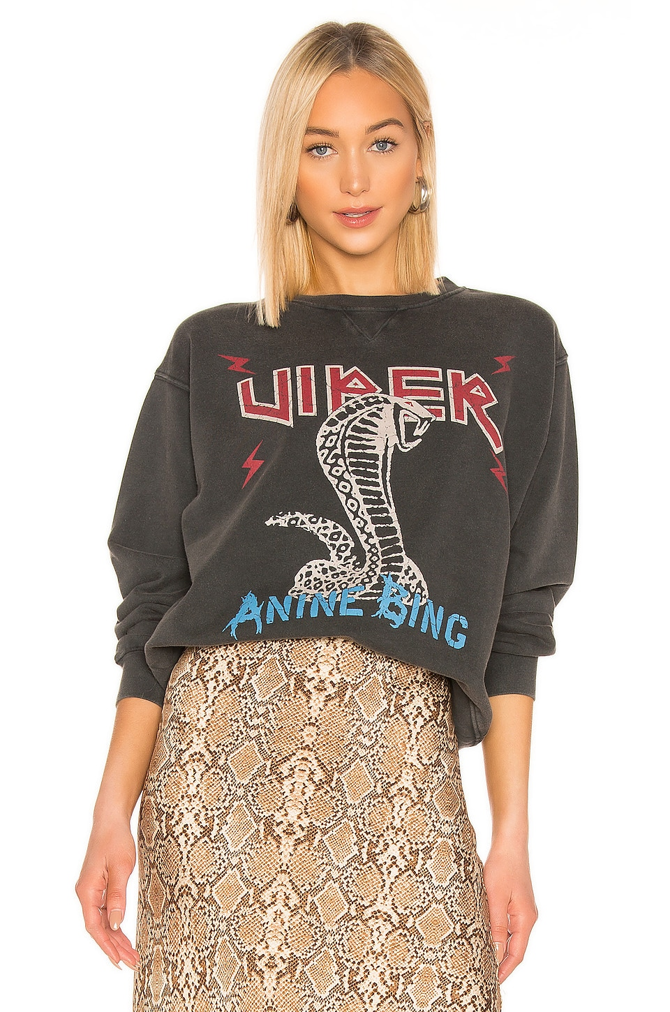 ANINE BING Cobra Sweatshirt in Charcoal