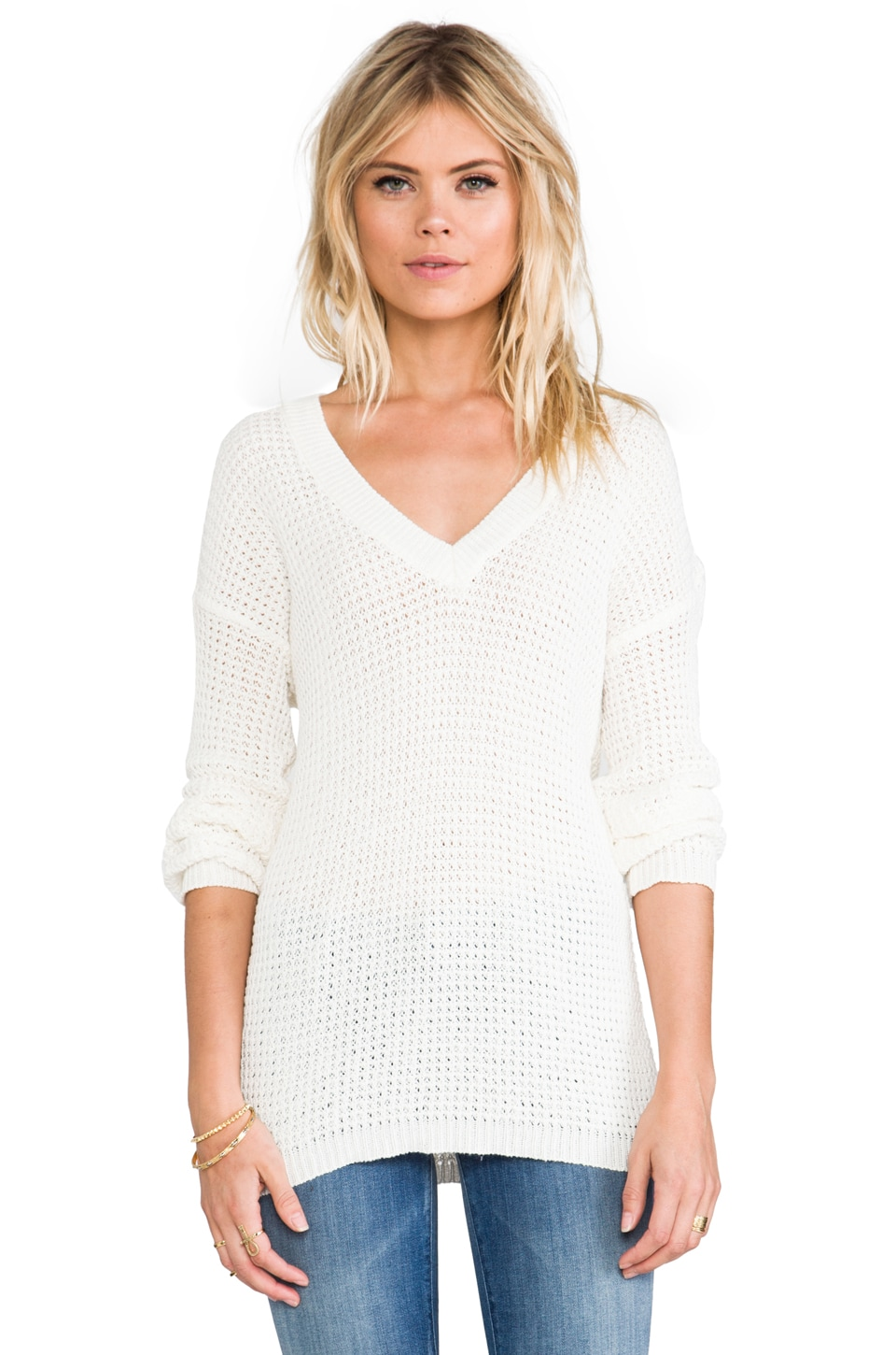 ANINE BING Knitted Sweater in White