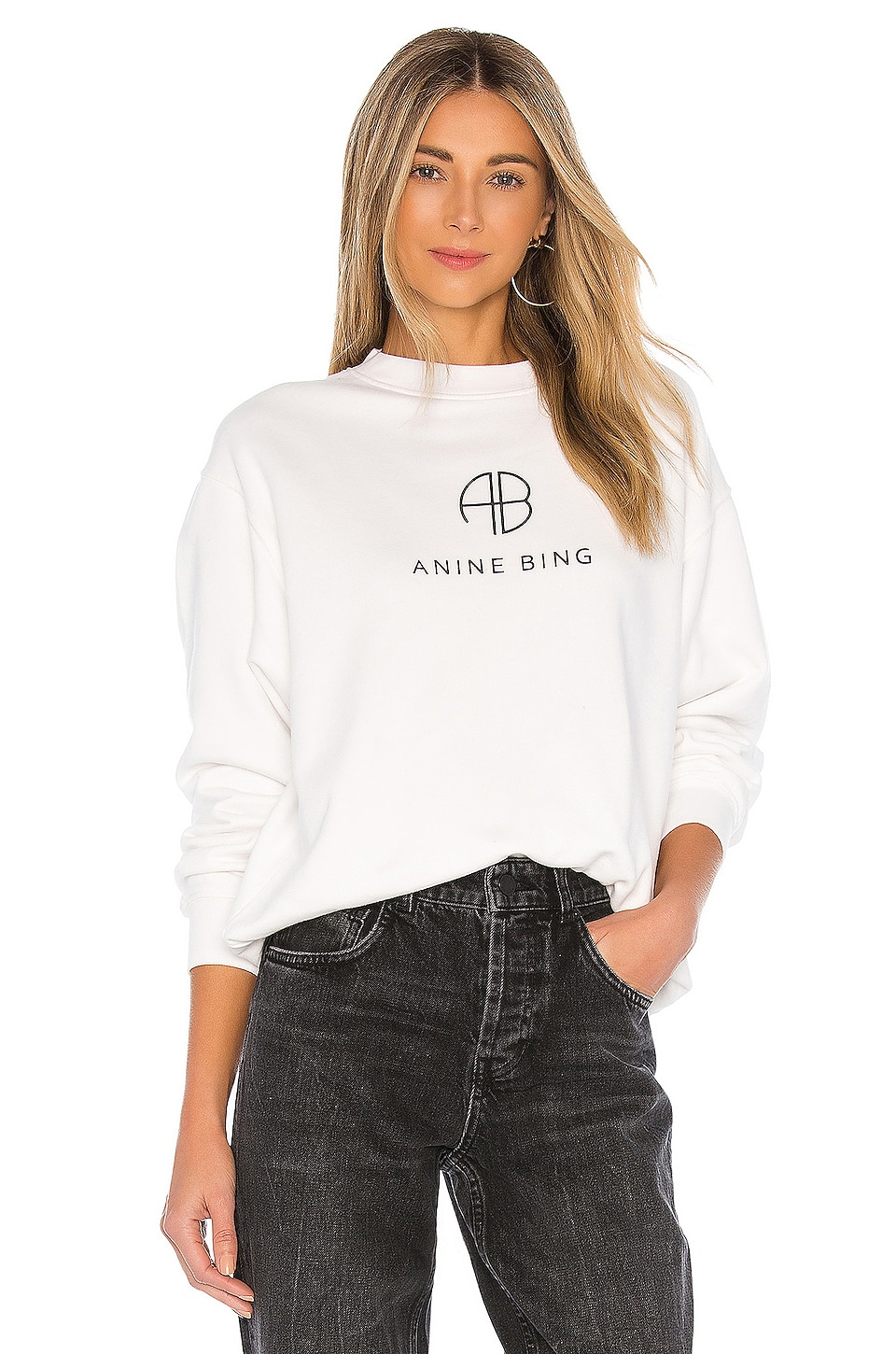 ANINE BING Ramona Monogram Sweatshirt in White