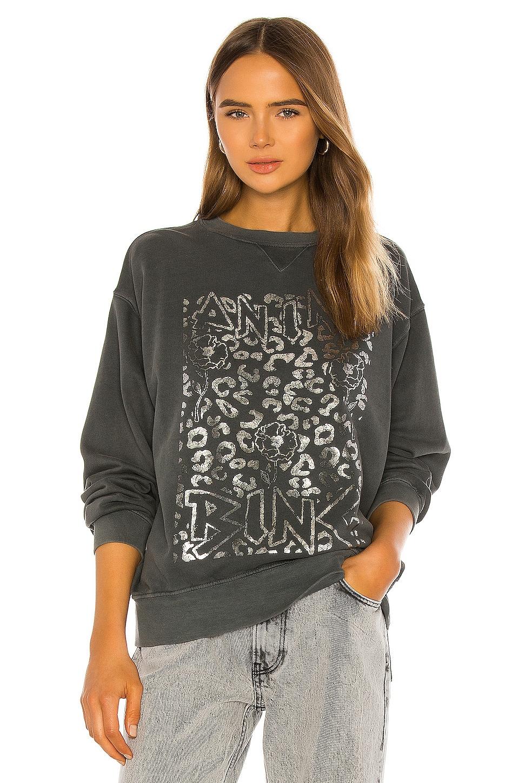 ANINE BING Ramona Panther Sweatshirt in Charcoal
