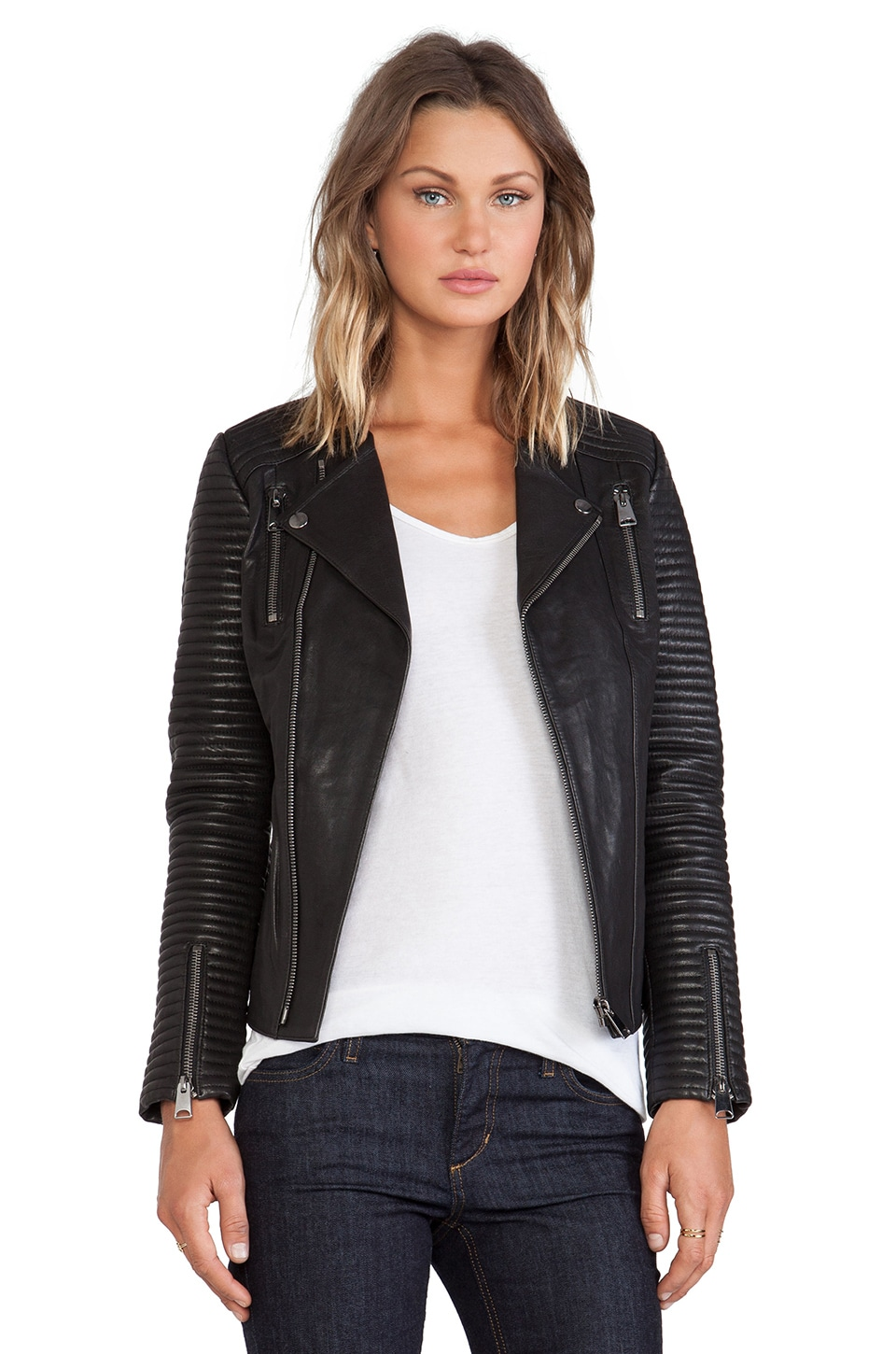ANINE BING Classic Leather Jacket in Black | REVOLVE