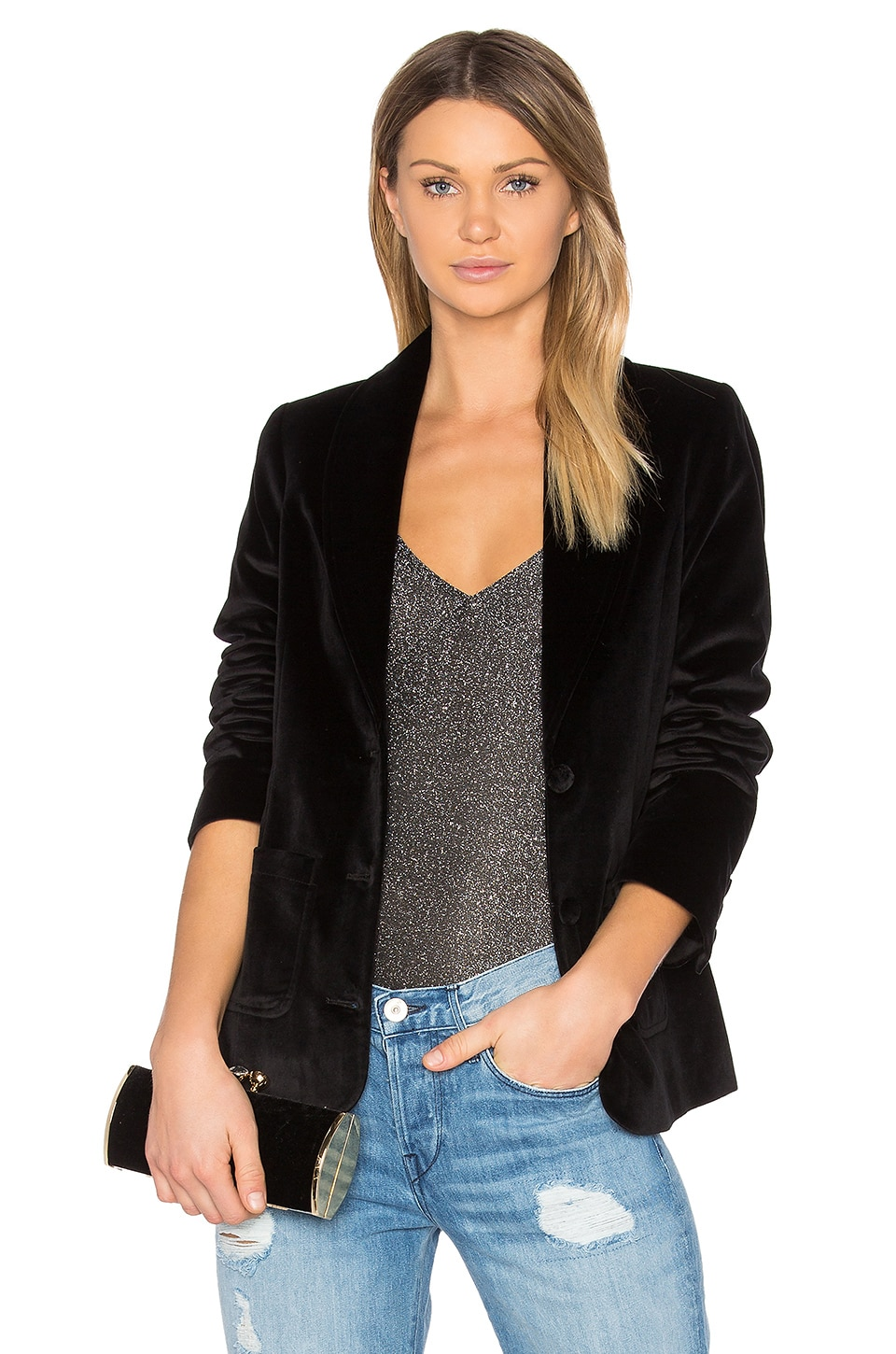 ANINE BING Velvet Blazer in Black