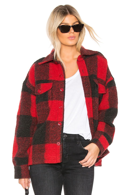 ANINE BING Bobbi Flannel Jacket in Red