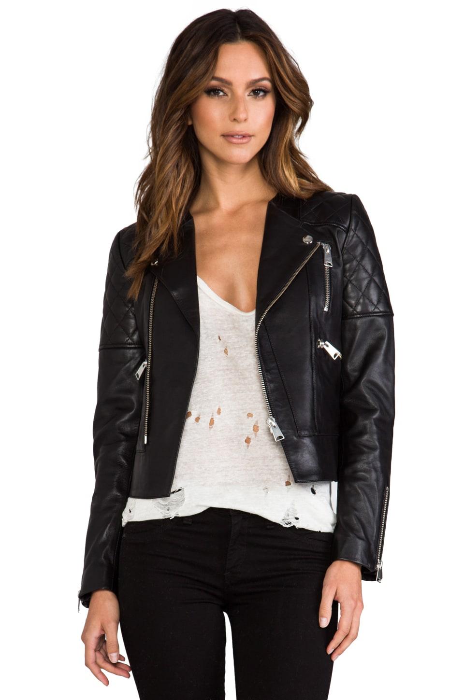 ANINE BING Leather Biker Jacket en Black