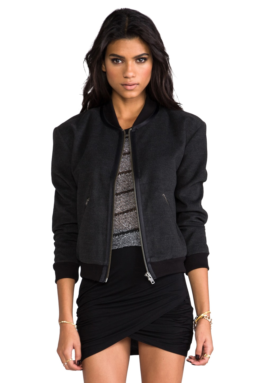 ANINE BING X Sincerely Jules Exclusive Bomber Jacket in Anthracite