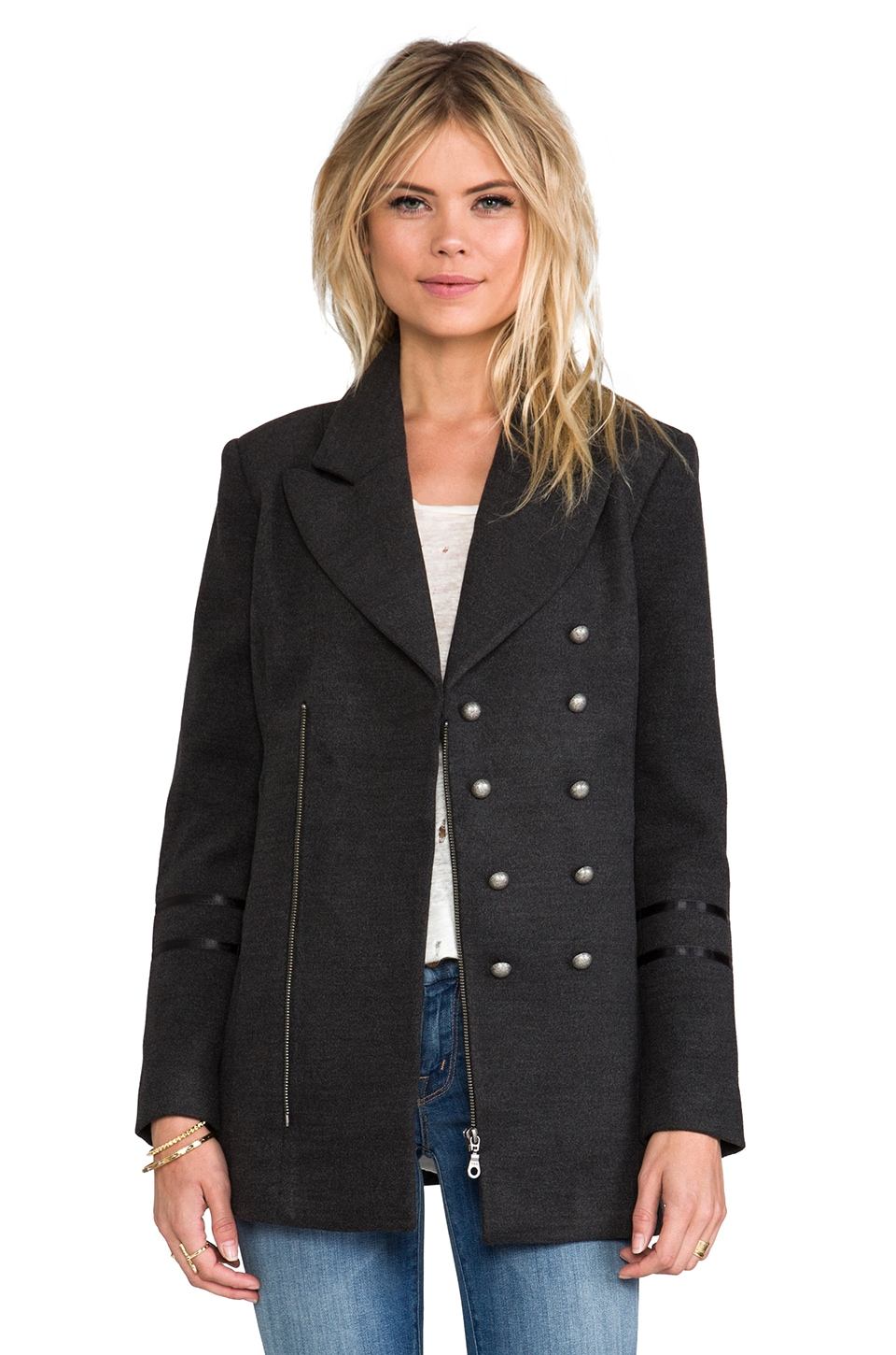 ANINE BING Military Coat in Charcoal