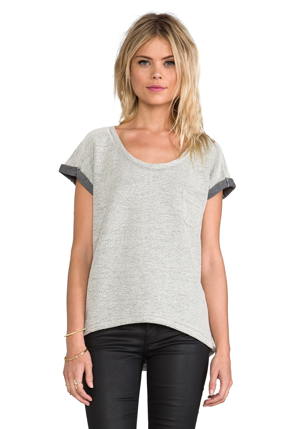 ANINE BING Short Sleeve Sweatshirt in Grey