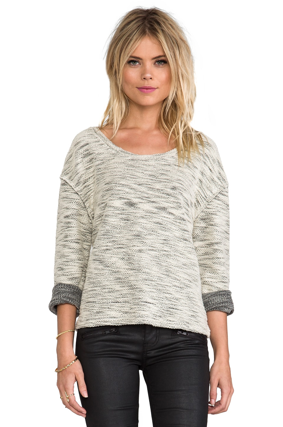ANINE BING Textured Sweater in Bone Melange