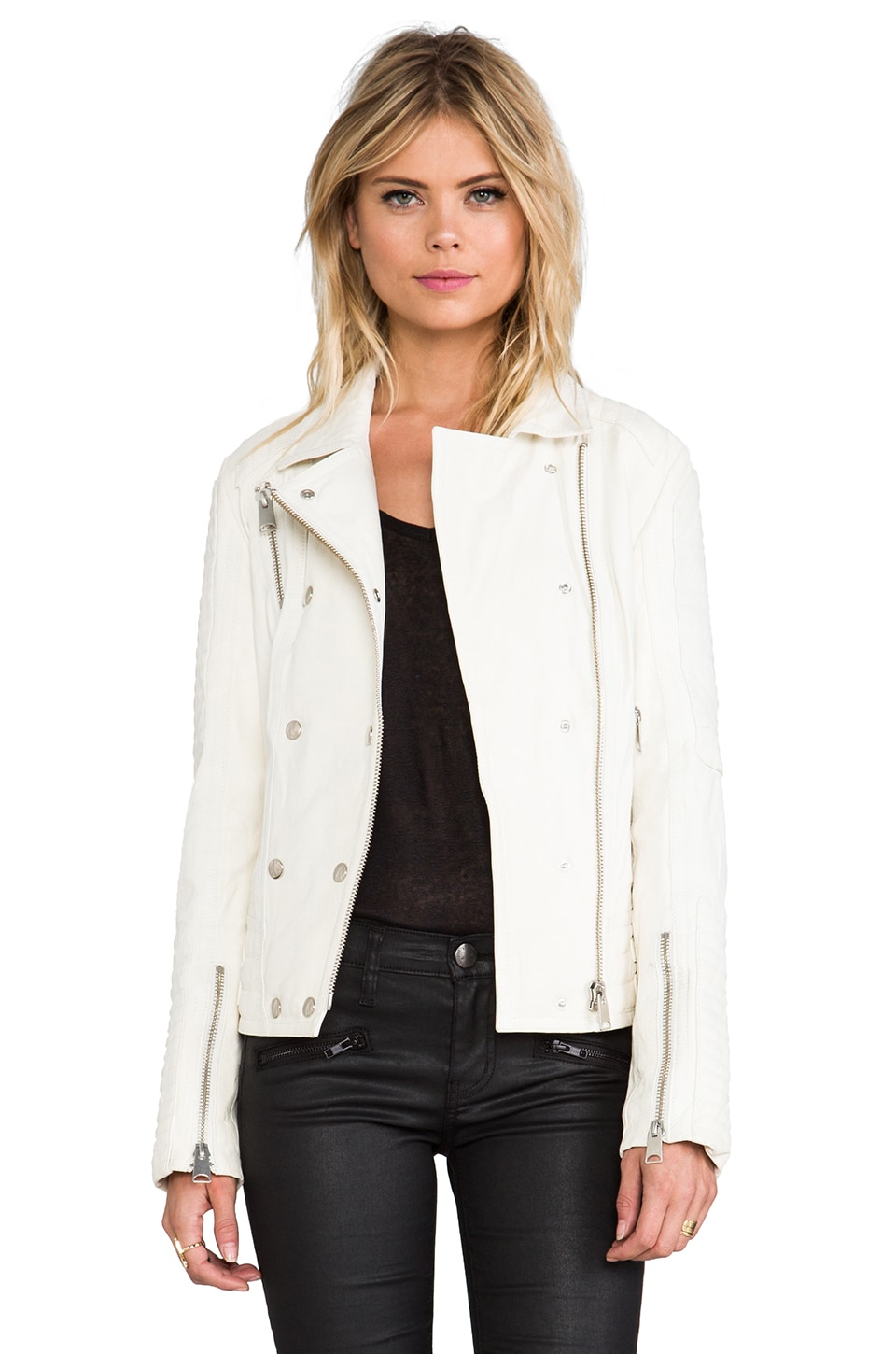 ANINE BING Moto Leather Jacket in Dirty White