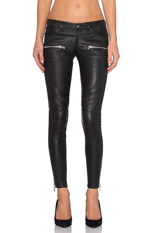 ANINE BING Leather Biker Pants in Black