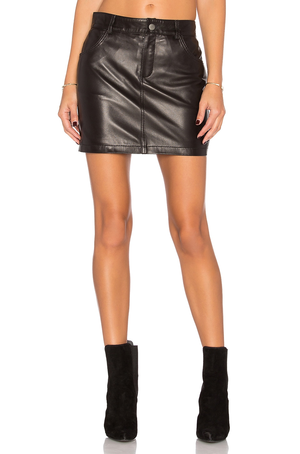 ANINE BING Classic Leather Skirt in Black