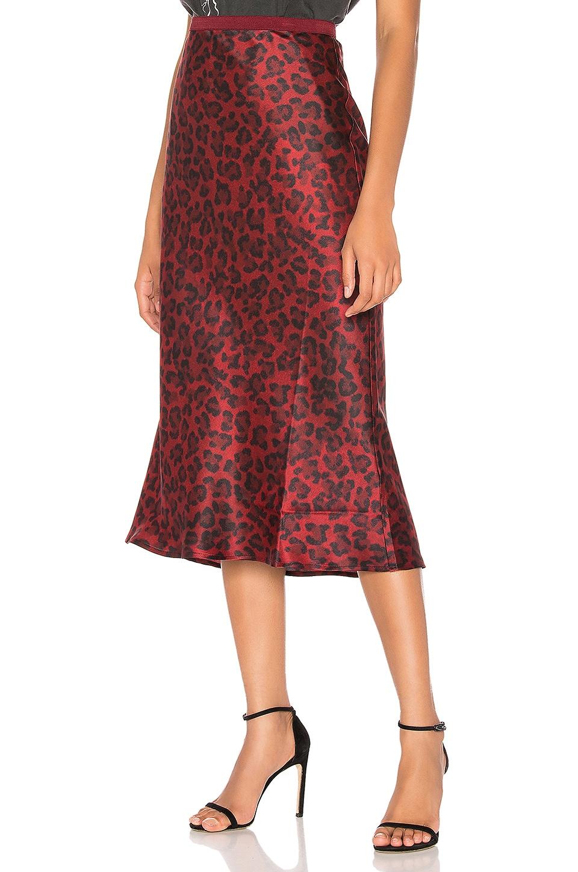 ANINE BING Bar Silk Midi Skirt in Red Leopard