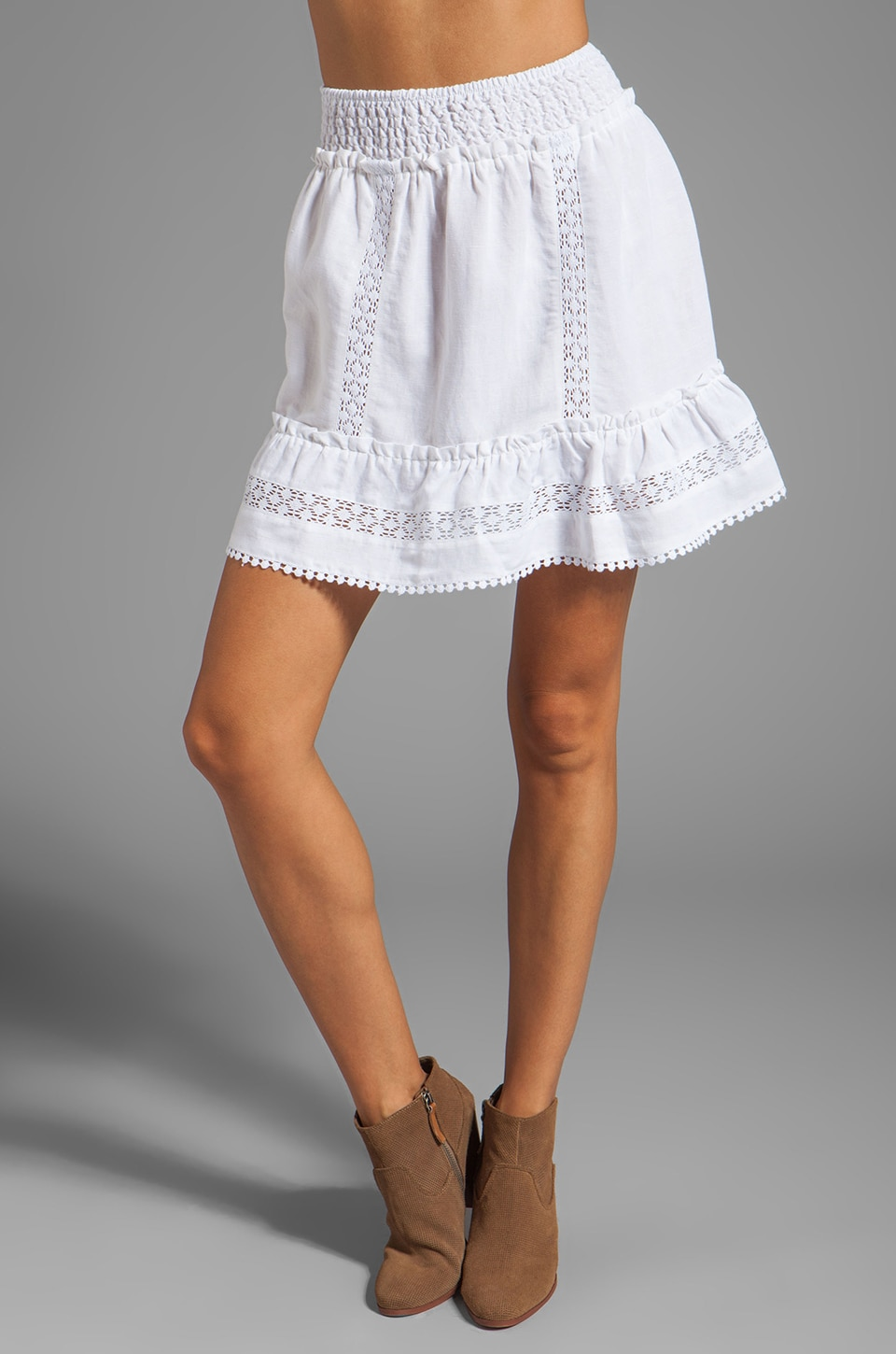 ANINE BING Bohemian Skirt in White
