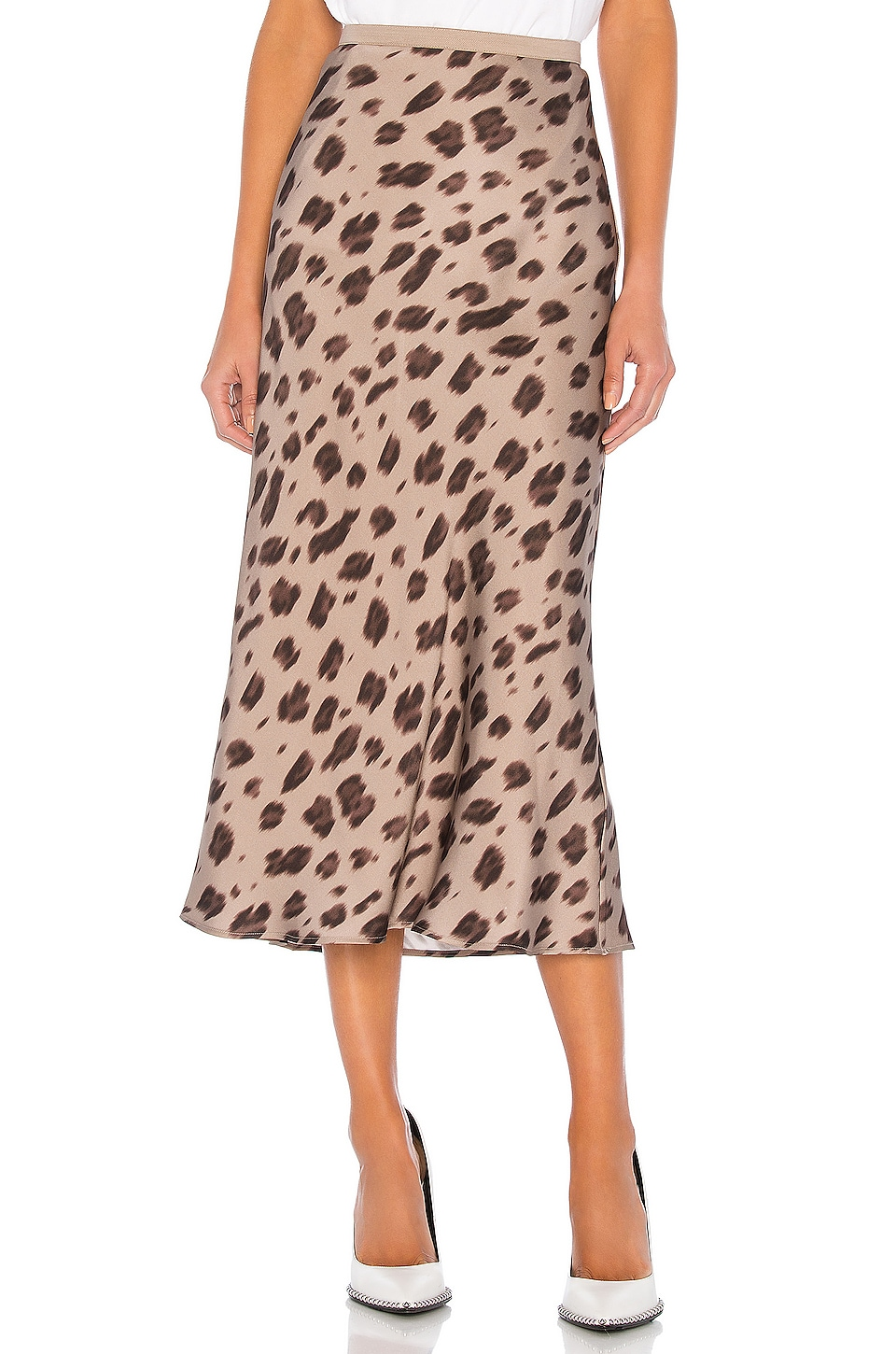 ANINE BING Bar Silk Skirt in Leopard