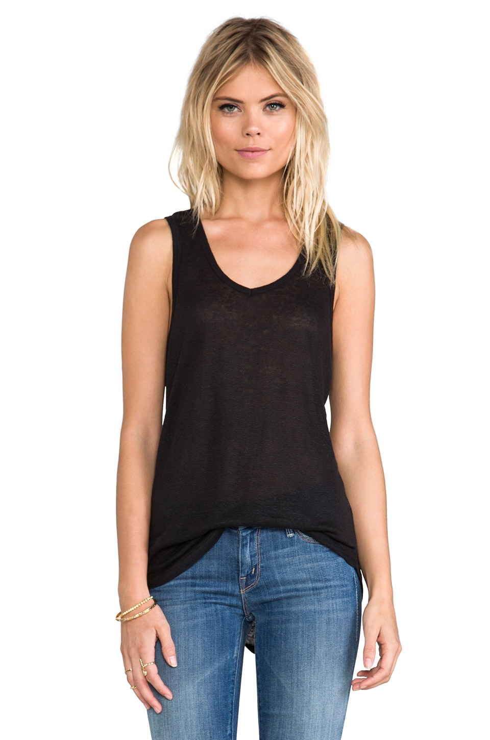 ANINE BING Linen Tank Top in Black