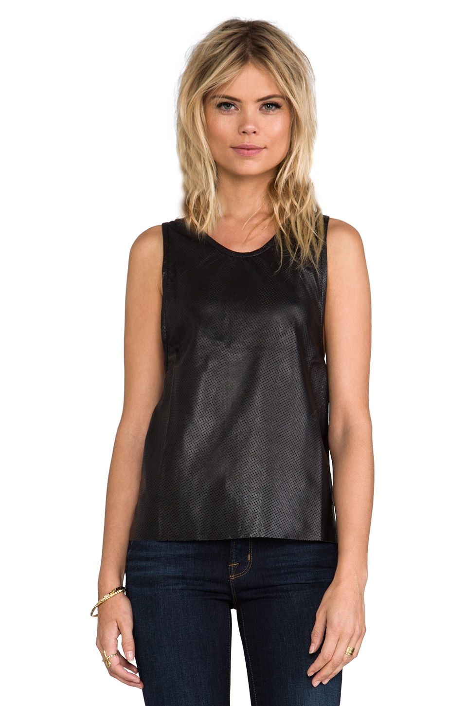 ANINE BING Leather Tank Top in Black