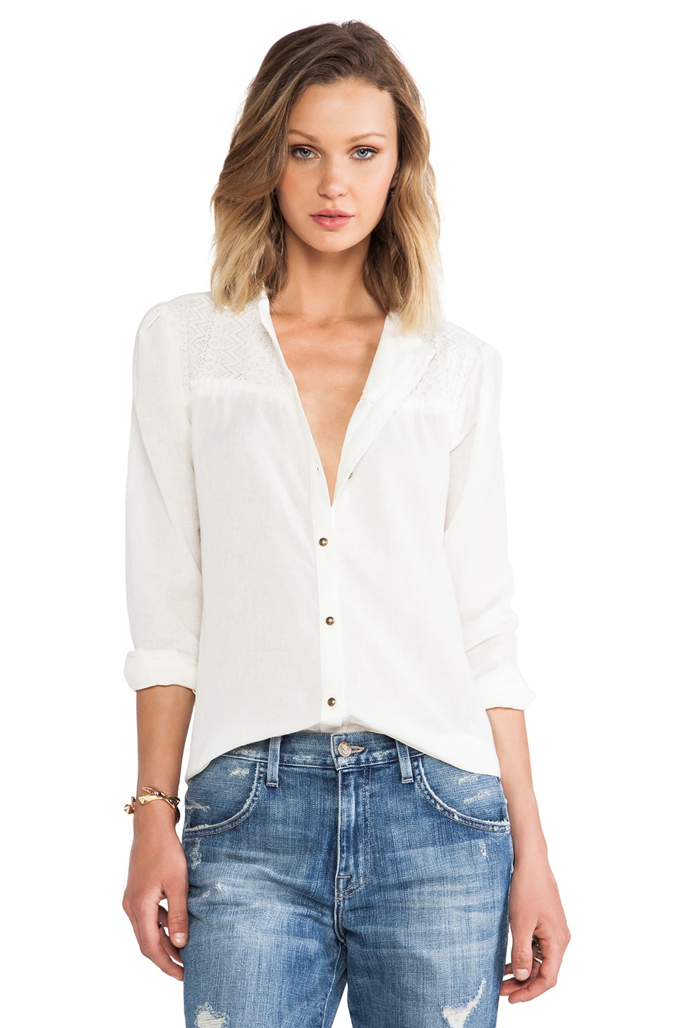 ANINE BING Lace Detail Blouse in White