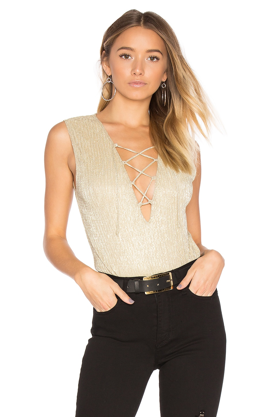 ANINE BING Lace Up Bodysuit in Gold Metallic