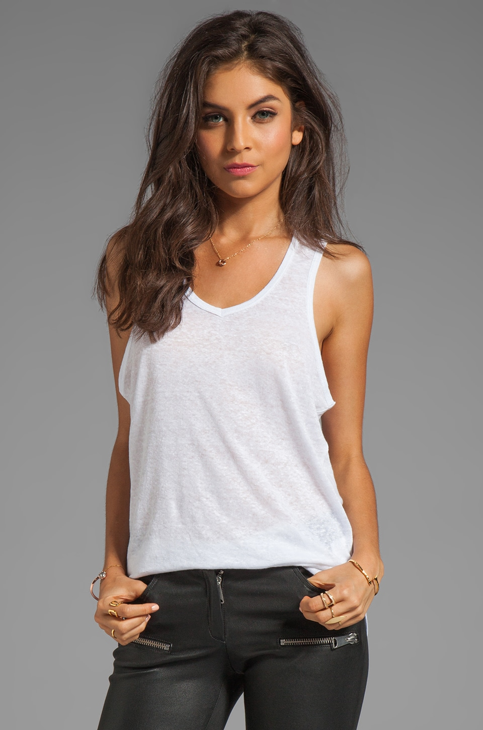 ANINE BING Linen Tank in White