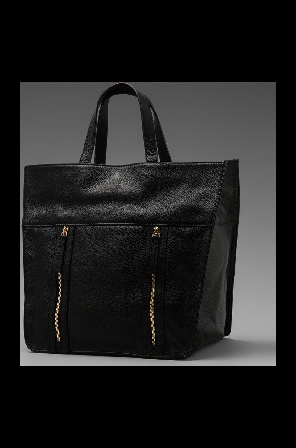 ANINE BING Leather Tote in Black/Gold