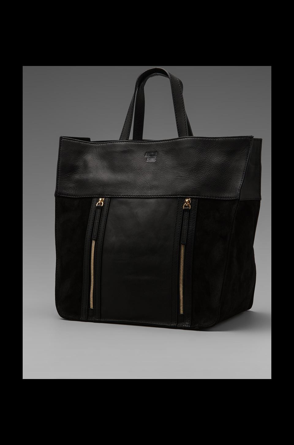 ANINE BING Leather Tote in Black Suede/Gold