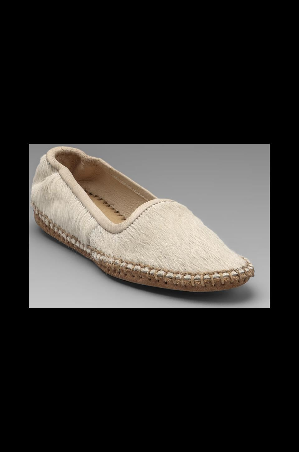 ANINE BING Moccasin with Calf Fur in Cream