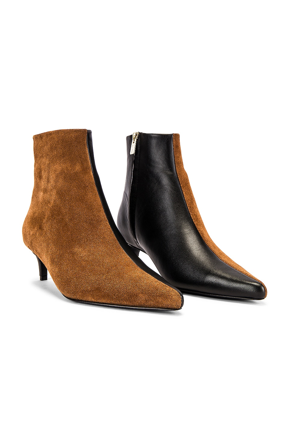 ANINE BING Loren Booties in Cognac & Black