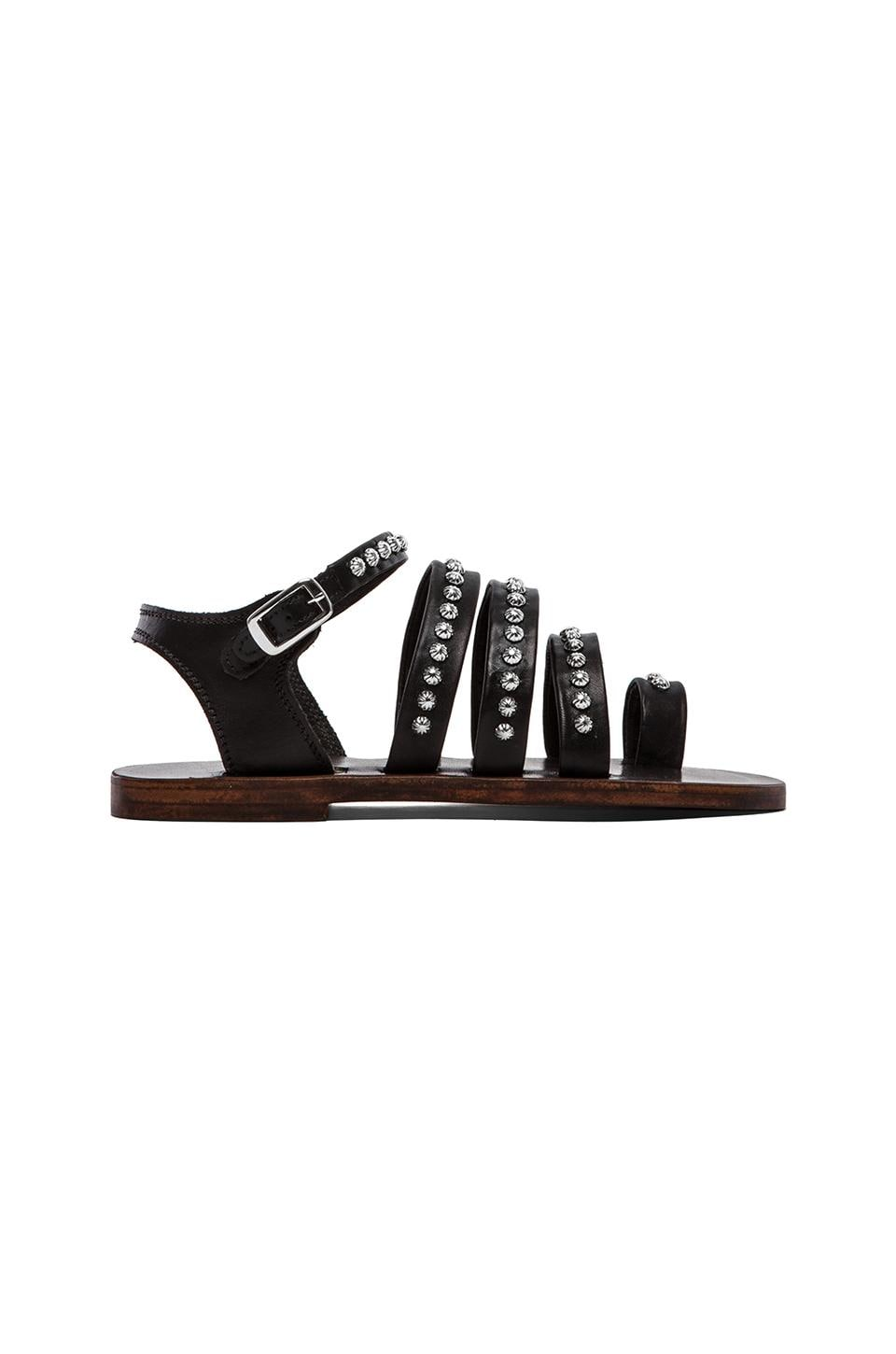 ANINE BING Silver Studded Sandals in Black