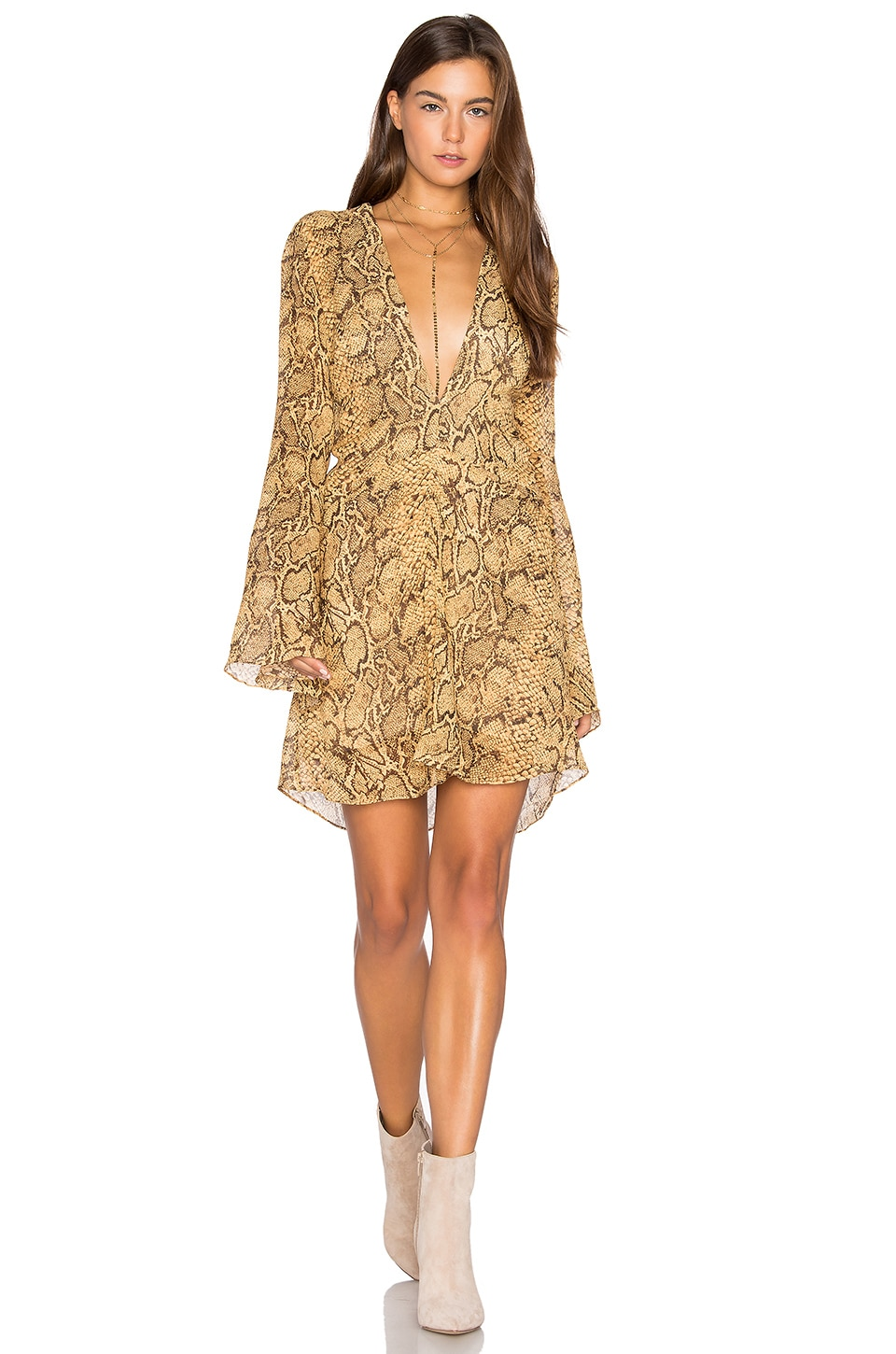 ANIMALE Deep V Dress in Gold Snake