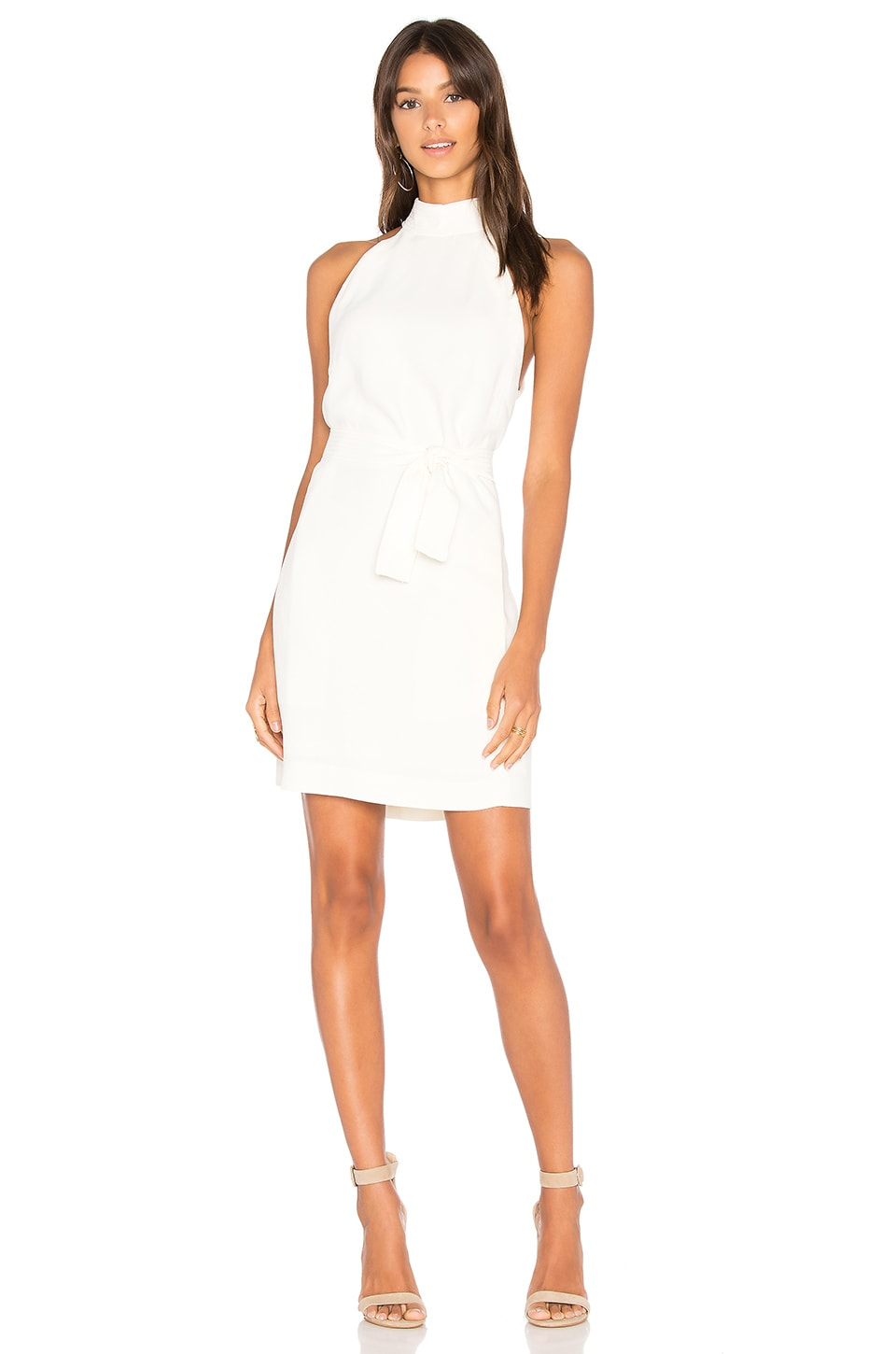 ANIMALE Tie Neck Dress in Off White