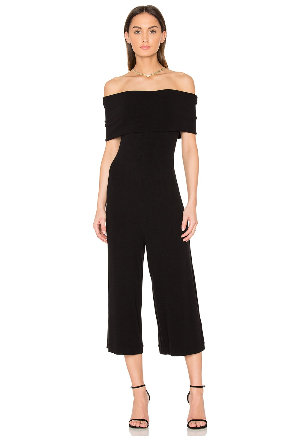 ANIMALE Off Shoulder Jumpsuit in Black