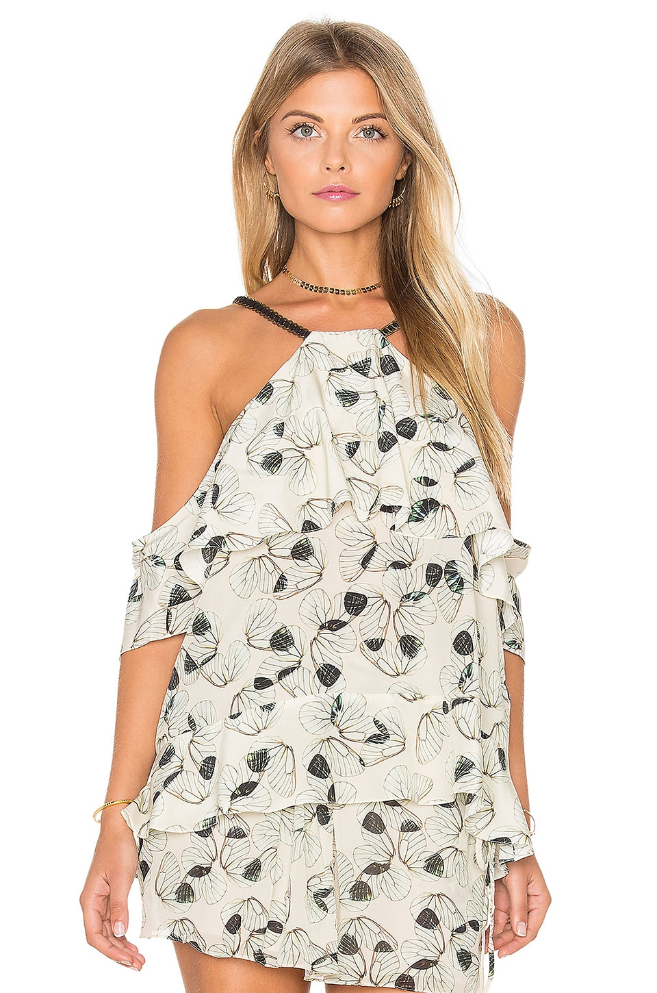 ANIMALE Wing Cold Shoulder Top in Wing Print