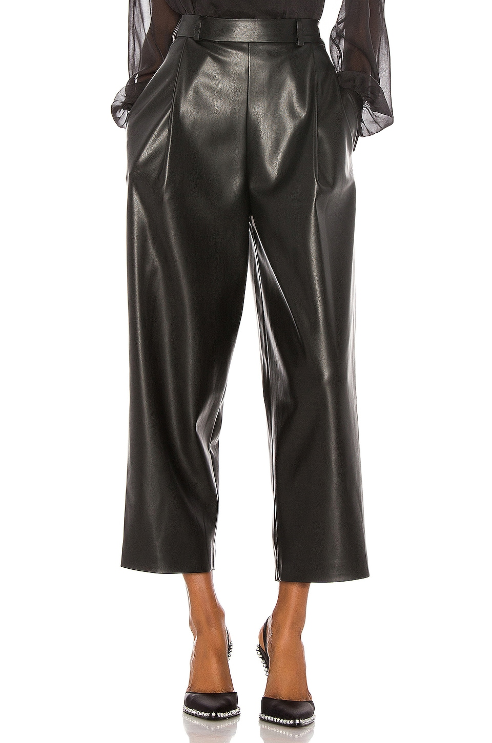 ANOUKI Faux Leather Culottes in Black