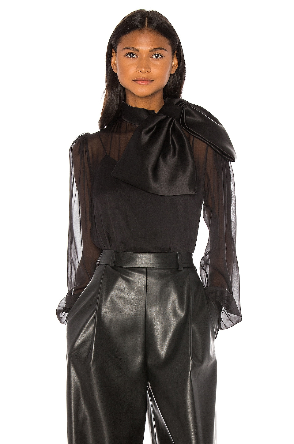 ANOUKI High Neck Drape Front Silk Bow Blouse in Black