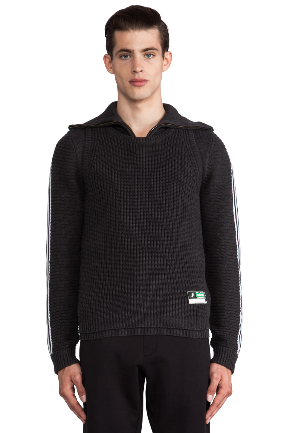adidas Originals by Opening Ceremony Tank Sweater in SLVR Black Melange