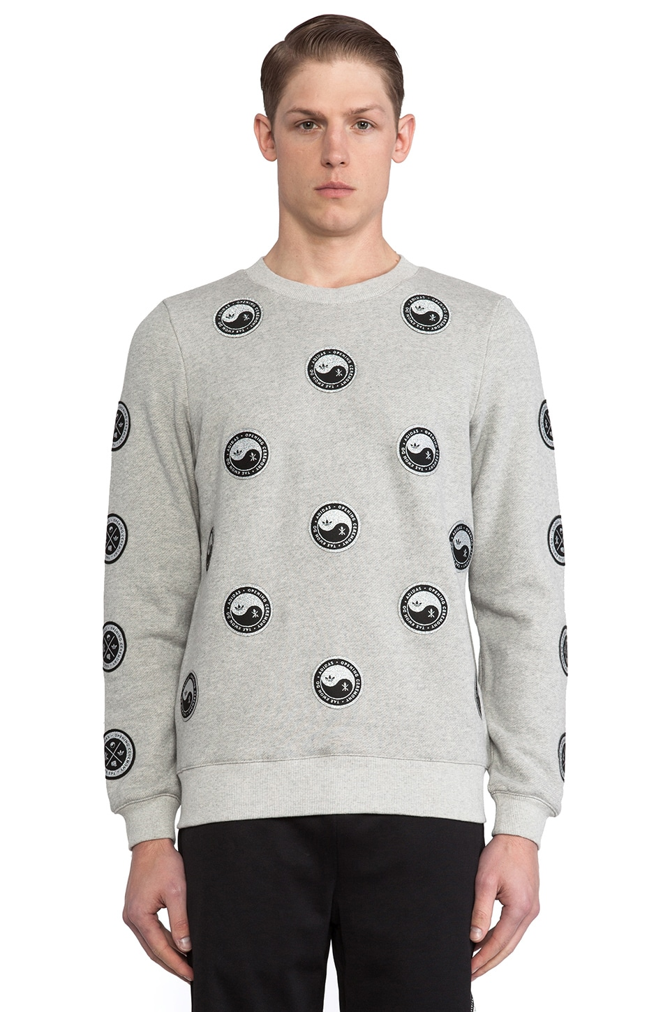 adidas Originals by Opening Ceremony Taekwondo Terry Long Sleeve in Melange Grey