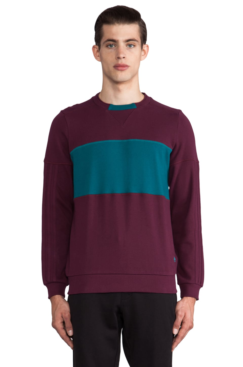 adidas Originals by Opening Ceremony Color Blocked Crewneck in Light Maroon/Big Sur