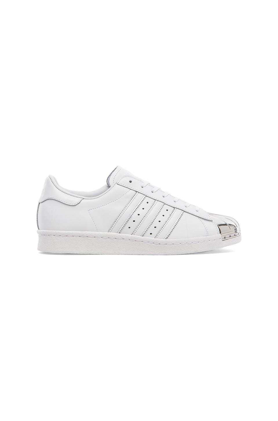 adidas Originals BLUE Superstar 80's Metal Toe Sneaker in White & Silver