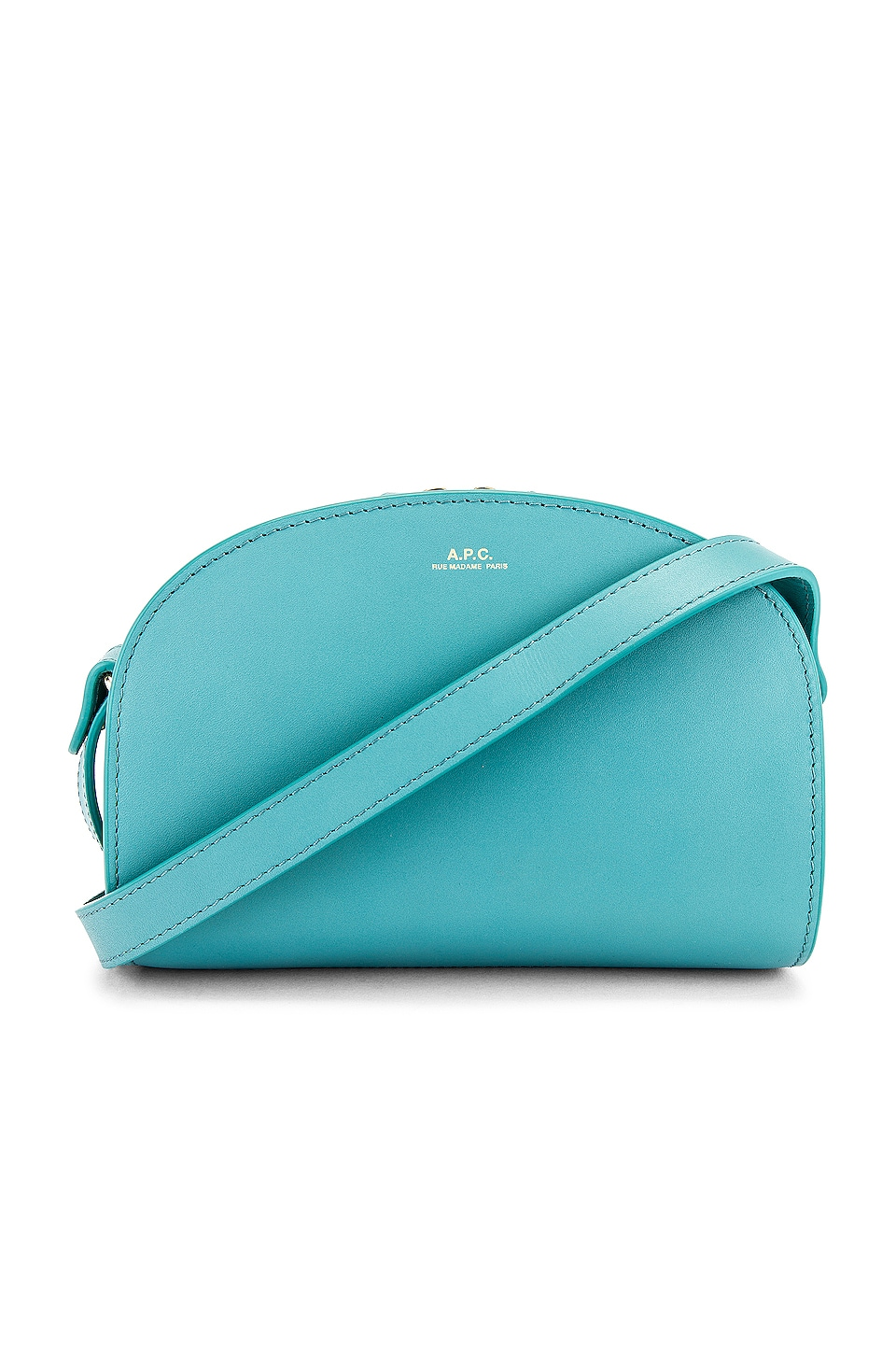 A.P.C. Sac Demi Lune Mini Crossbody Bag in Turquoise