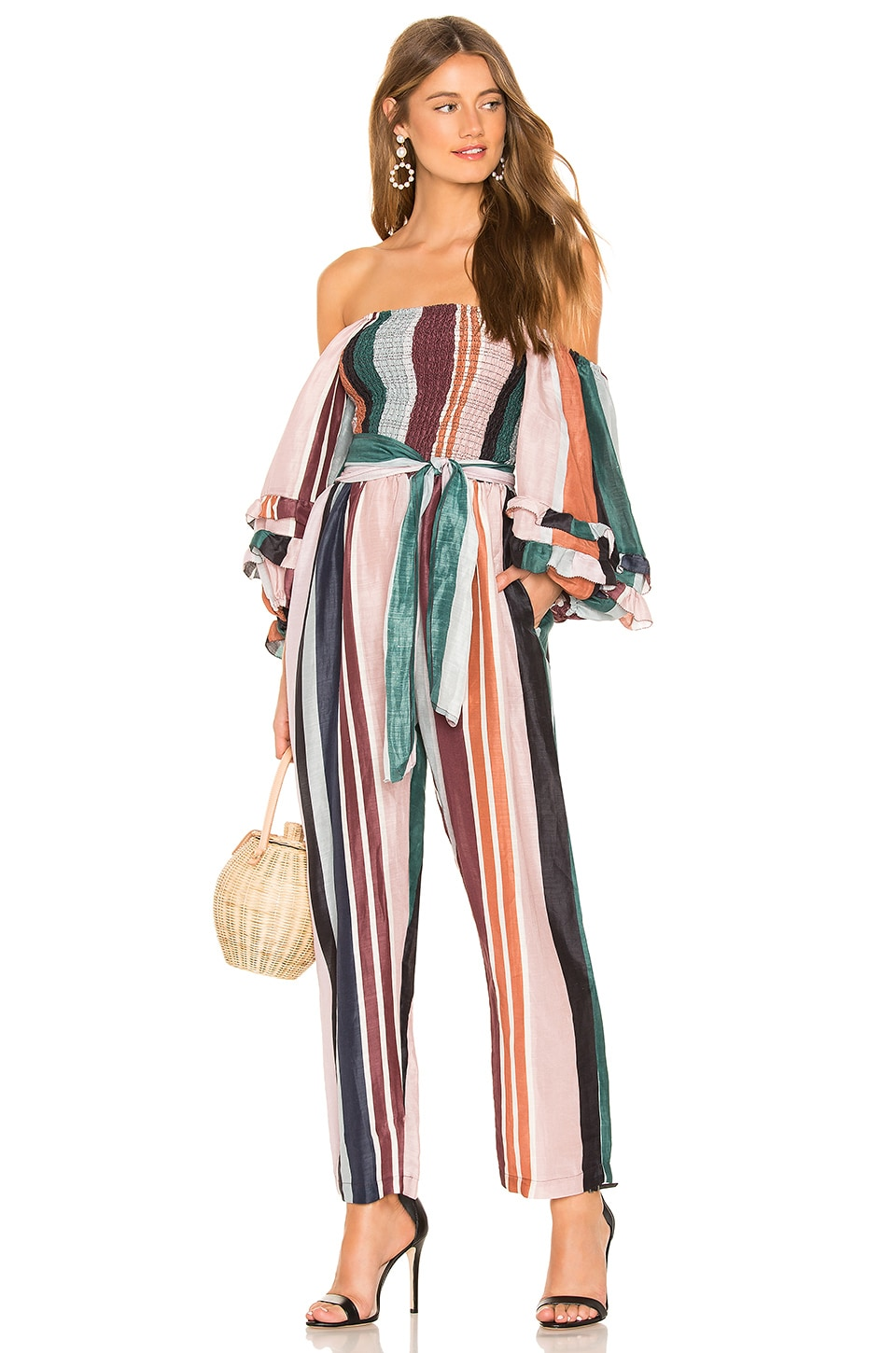 APIECE APART Lagunitas Smock Off Shoulder Jumpsuit in Alhambra Stripe