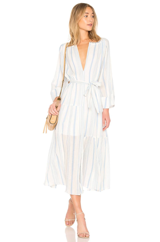 APIECE APART Stella Shirred Tiers Dress in Blue Stripe