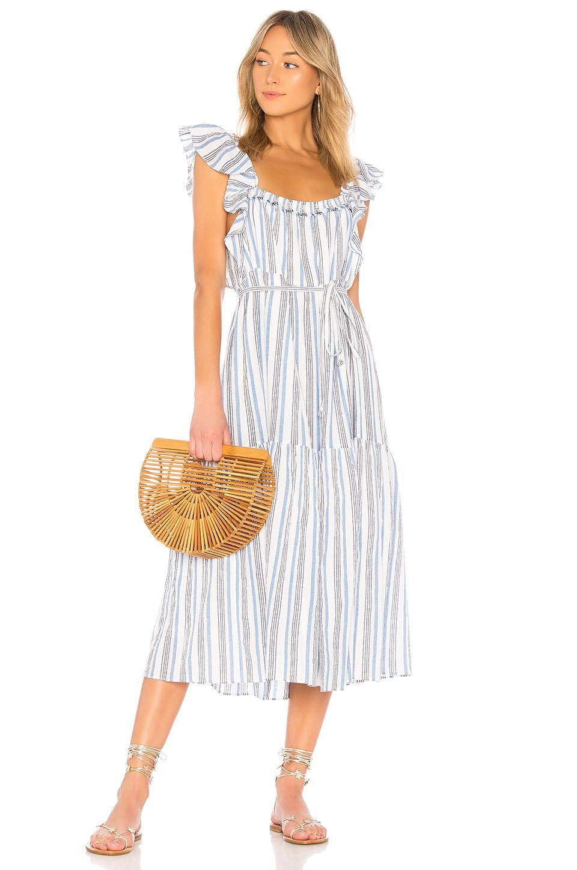APIECE APART Ruffle Sleeve Striped Dress in Blue