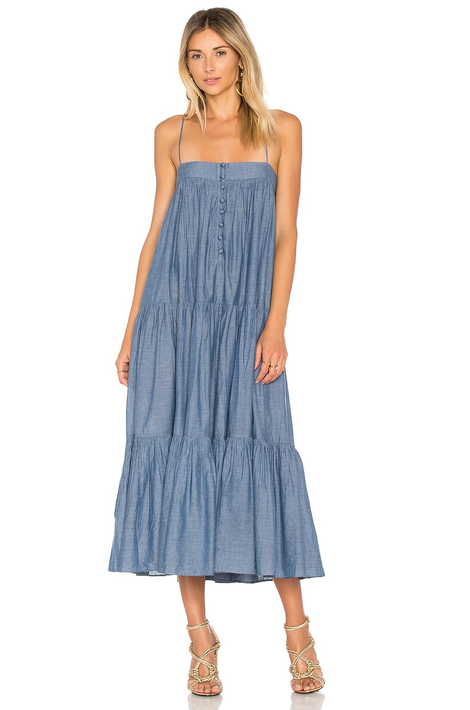 APIECE APART Tangiers Spaghetti Dress in Chambray