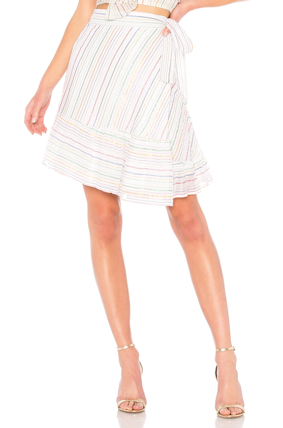 APIECE APART Tamarind Wrap Skirt in White Fez Stripe