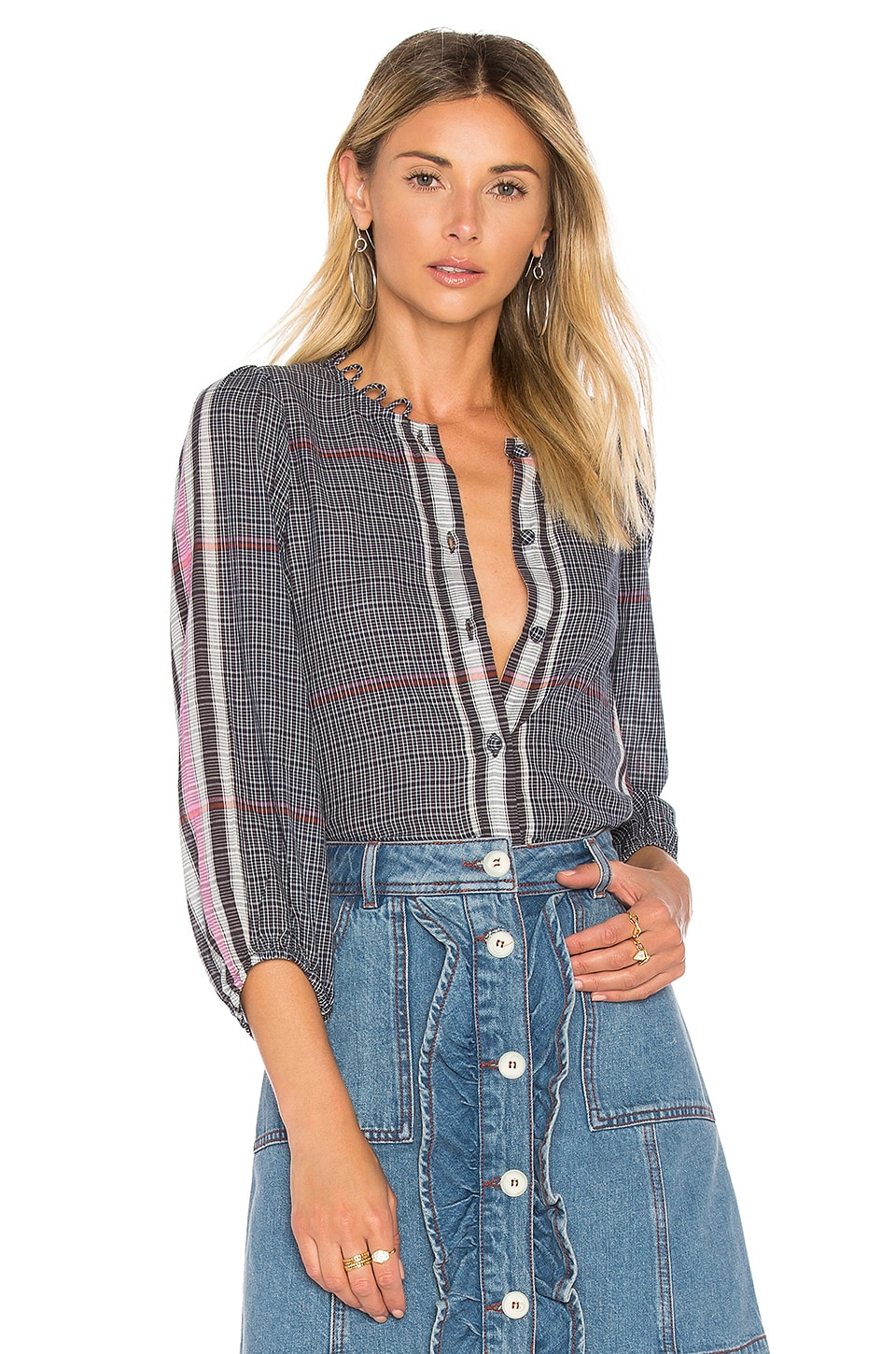 0d6a212327f APIECE APART Lalla Shirred Sleeve Top in India Plaid
